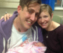 Penny, Iain & Scarlett. Mum, dad and newborn