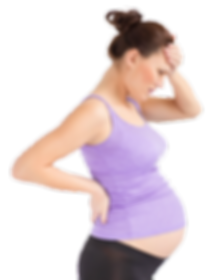 Pregnant woman, one hand on her back the other on her forehead, she looks worried