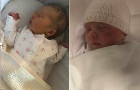two pictures of a sleeping baby
