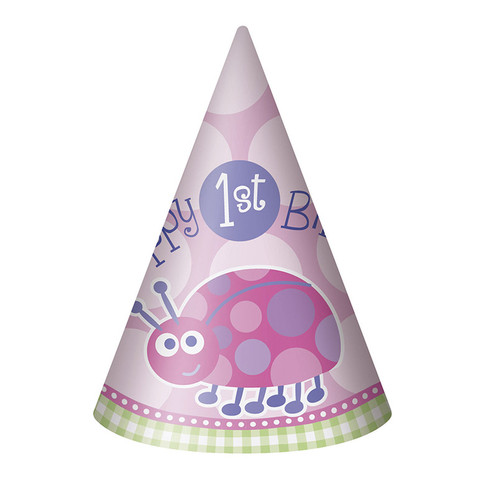 1 X Happy 1st Birthday Party Hat Pink