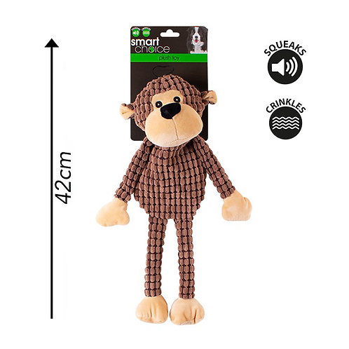 Plush Dog Toy Monkey Brown