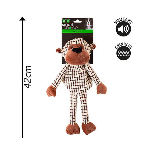 Plush Dog Toy Monkey Cream