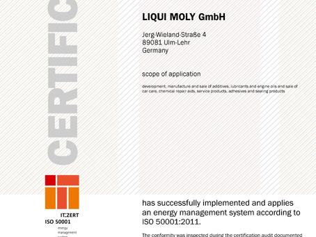 LIQUI MOLY ISO 50001:2011認證