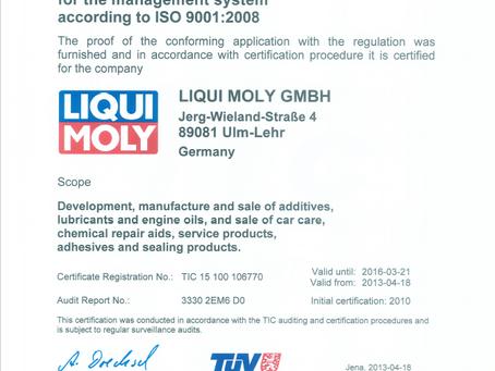 LIQUI MOLY ISO 9001:2015-ISO 14001:2015-ISO 45001:2018認證