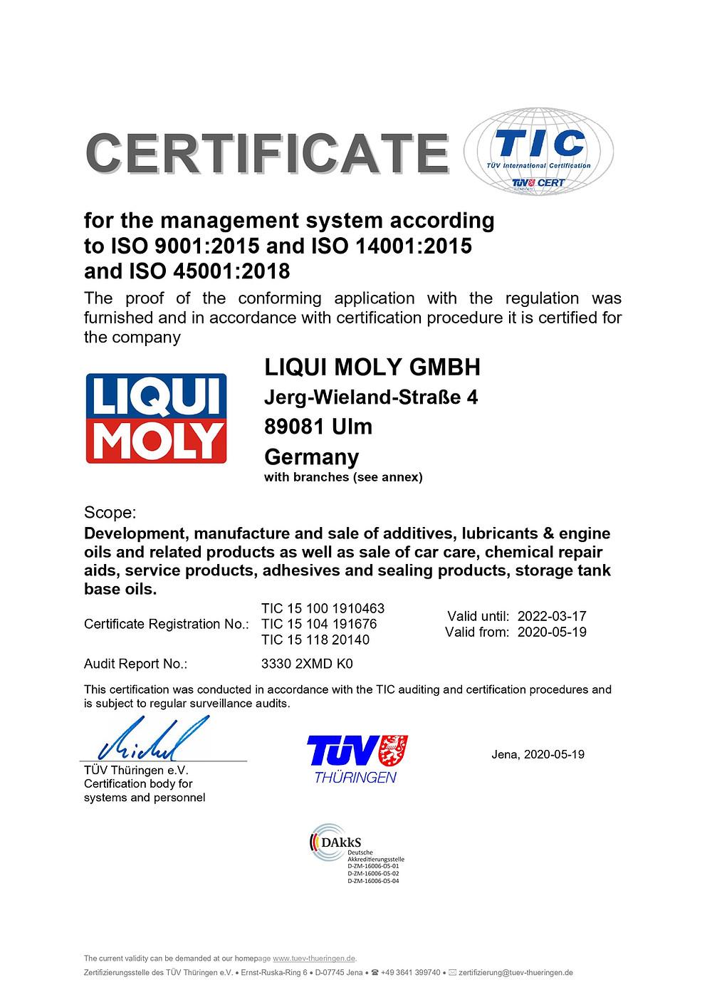 LIQUI MOLY ISO 9001:2008認證