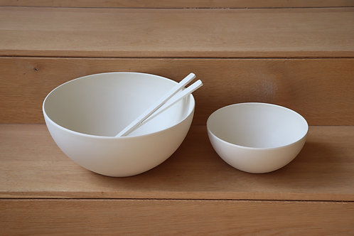 Salad bowl set/2 + servers white