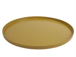 Tray, round, iron, mustard yellow