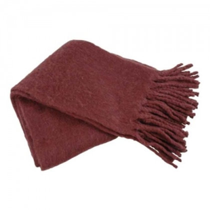 Throw with fringe bordeaux