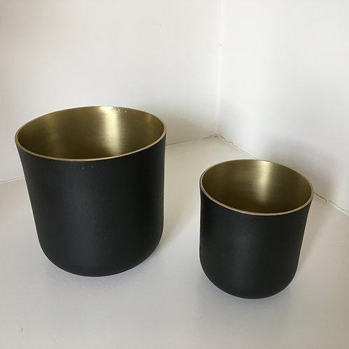 Flower pot - texture black/gold