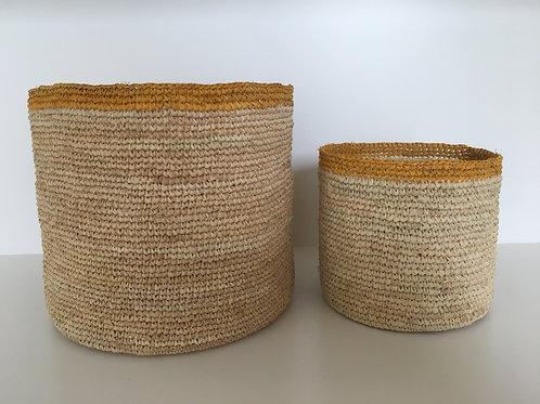 Basket Raffia 'yellow' thin upper line