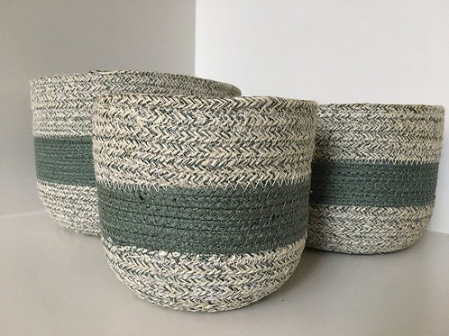 'Papette' jute basket natural / green