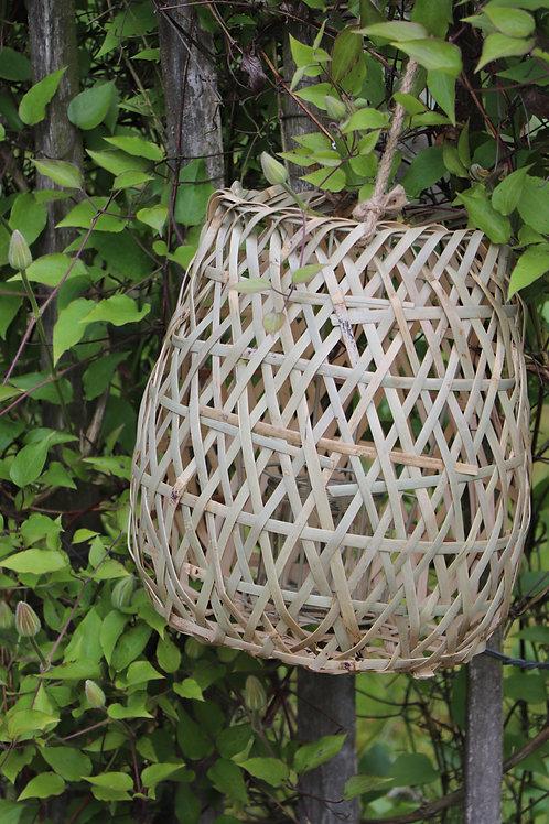 Lantern, bamboo/glass, natural