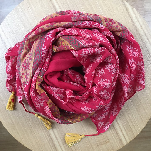Pareo / scarf 'Summer' red