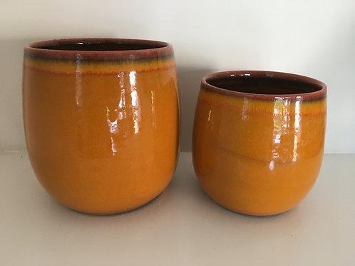 Flowerpot vintage ceramic caramel