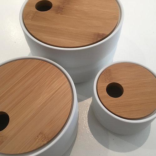 Jar with lid, ceramics, white/nature