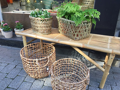 Bamboo bench 'pliable' natural