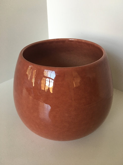 Flowerpot round ' Cielo' ceramic terra