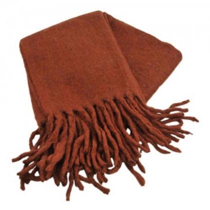 Throw with fringes burned orange