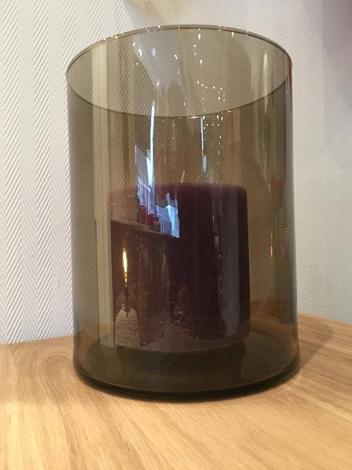 Candleholder/vase, glass, grey/brown