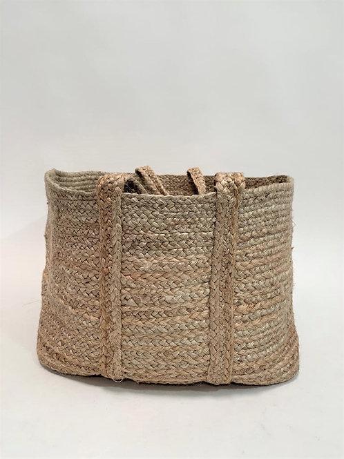 Rectangular storage basket natural jute