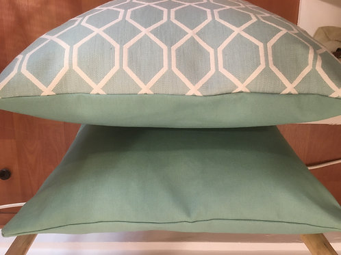 Cushion Botanical Treillis Blue Clay /Turquoise