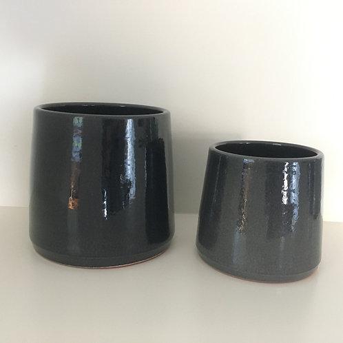 Flowerpot round ceramic black