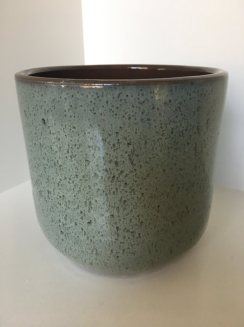 Flowerpot round ceramic grey green