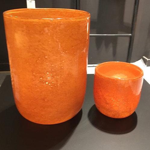 Vase round glass orange