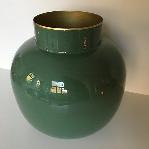 Round metal vase green