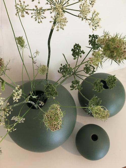 Vase Ball ceramic matt green