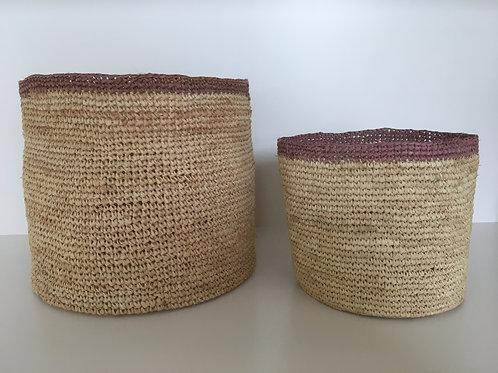 Basket Raffia 'terra' thin upper line