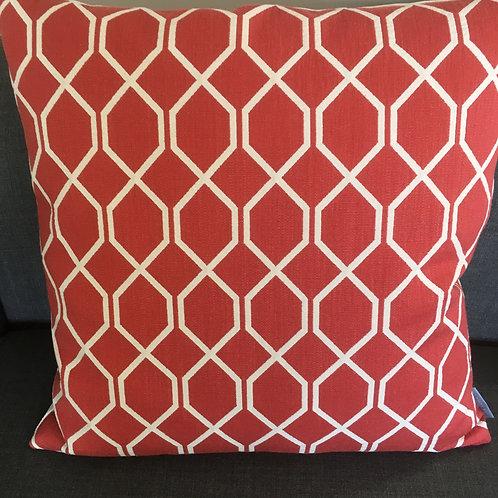 Cushion Botanical Treillis Bengal red / Pearl
