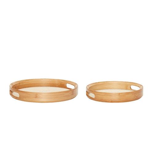 Tray, round, wood
