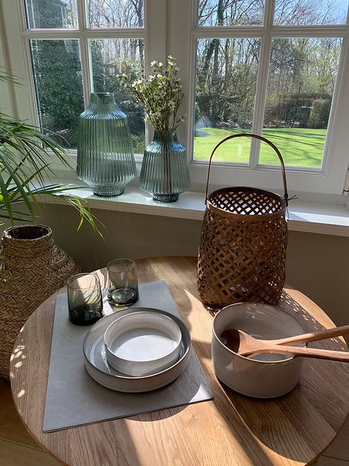 Braided lantern, bamboo/glass, brown