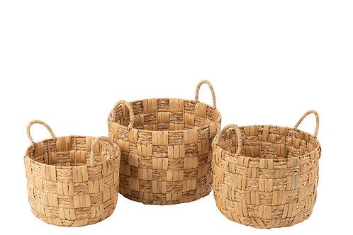 Basket round water hyacinth natural