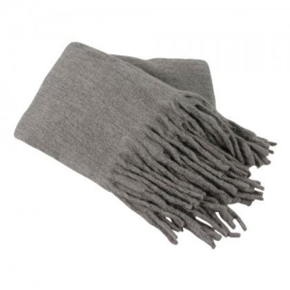 Throw with fringe grey