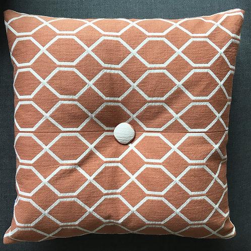 Cushion Botanical Treillis Papaya /Beige 'button'