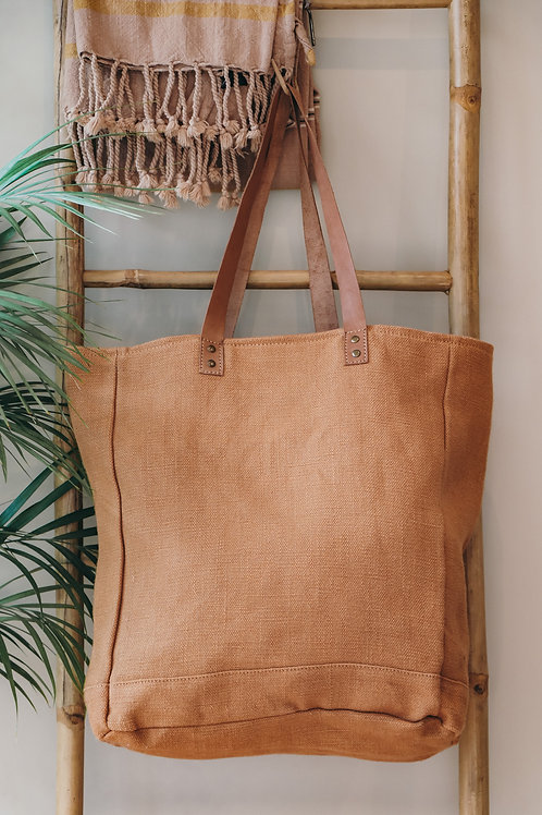Jute canvas tote with leather handles camel