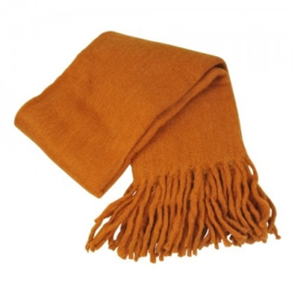 Throw with fringe warm brown