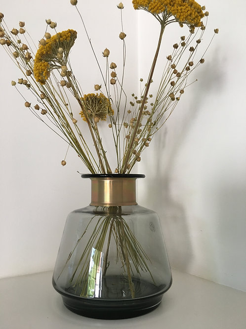 Vase 'Miza', glass, smoked