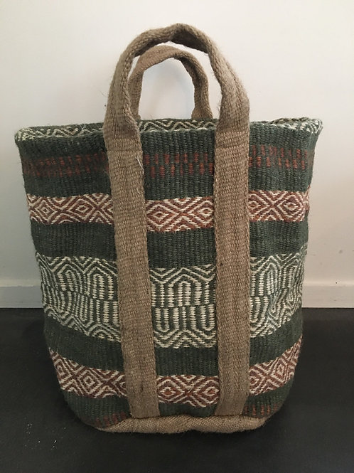 Jute bag green/rouille