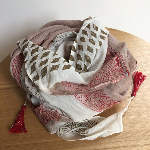 Pareo / scarf 'Myra' red/beige