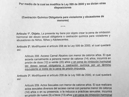 Proyecto de Ley No. 197 de 2016 para sancionar a violadores de menores con procedimiento de inhibici