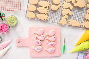 Flat lay. Decorating Easter sugar cookie