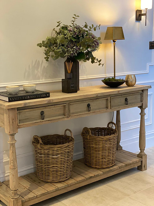 Rustic 3 Drawer Console Table (table only)