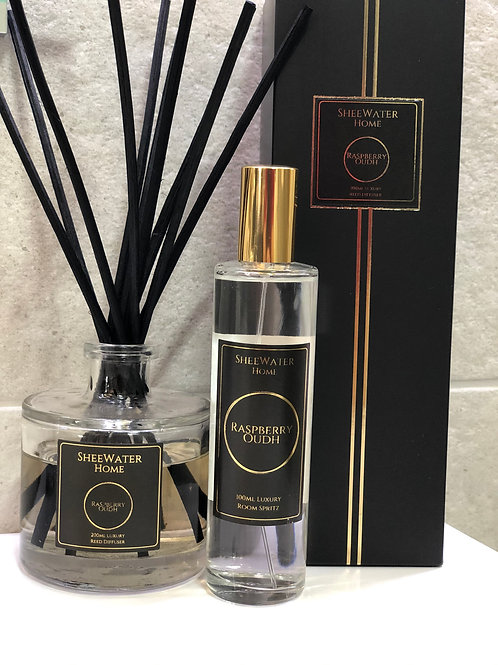 Raspberry Oudh Luxury Diffuser and Room Spritz Bundle