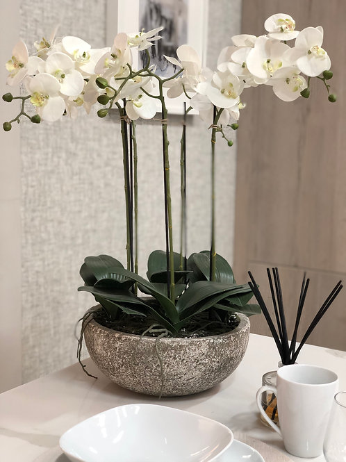 Large Artificial Orchid In a Stone Effect Bowl