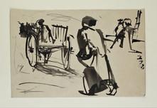Man following a cart