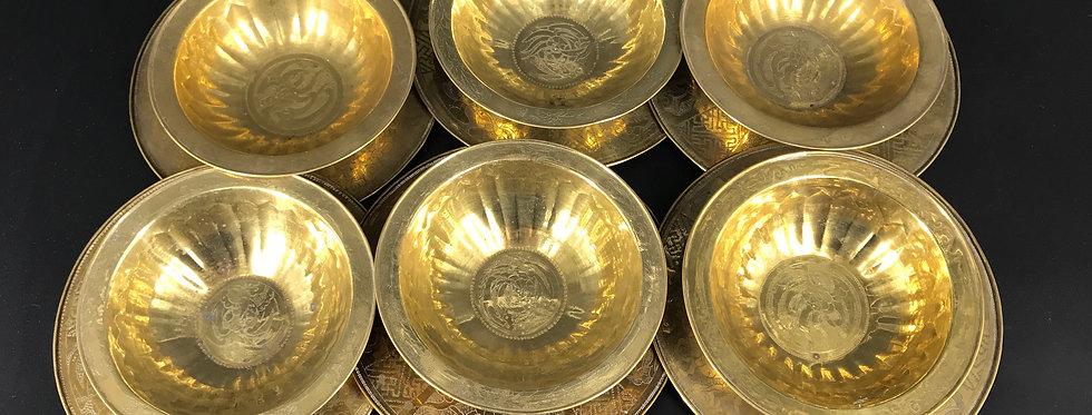 Collection de 6 COUPES et 6 PLATS À OFFRANDE, XXème