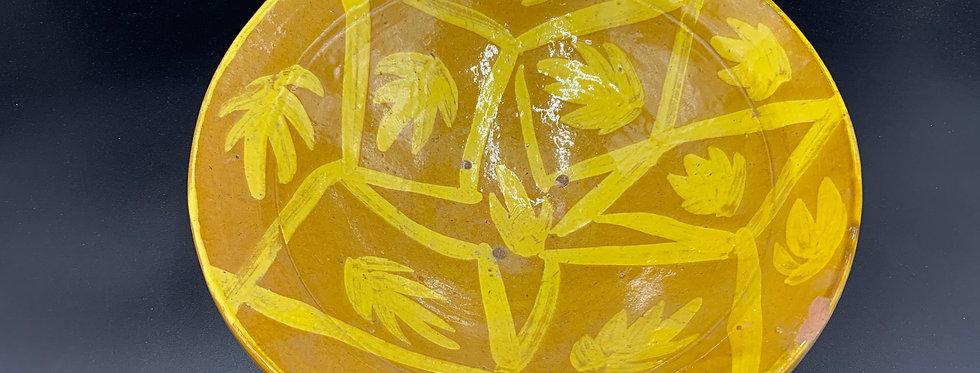 Pakistan Multan, Ancien Plat en Terre-cuite vernissée décor floral engo